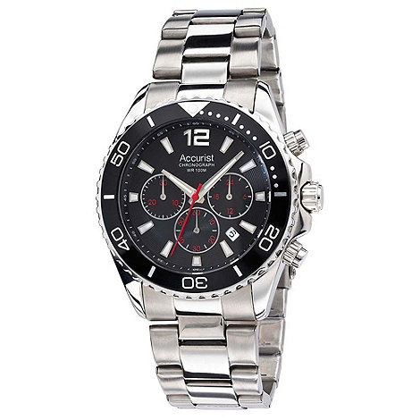 Accurist - Men+s stainless steel black chronograph watch