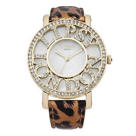 Lipsy - Ladies+ brown leopard print watch