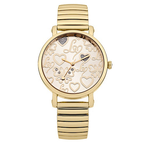 Lipsy - Ladies gold sun ray dial watch