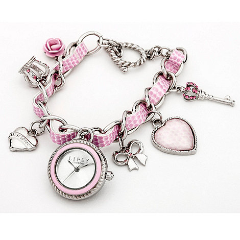 Lipsy - Ladies pink charm bracelet watch