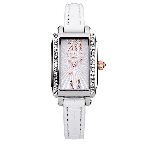 Lipsy - Ladies+ white rectangular dial watch