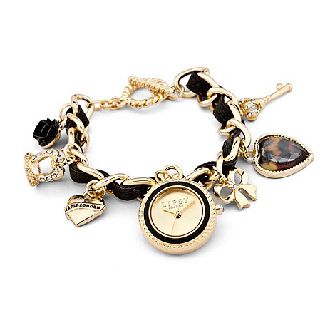 Lipsy - Ladies+ black and gold charm watch