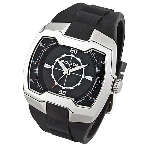 Police - Men's silver 'endeavour' rubber strap watch