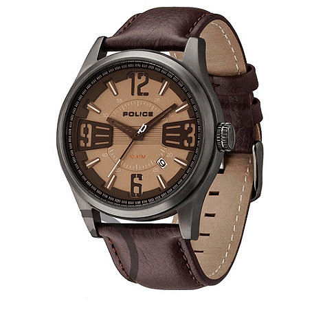 Police - Men+s brown +lancer+ leather strap watch