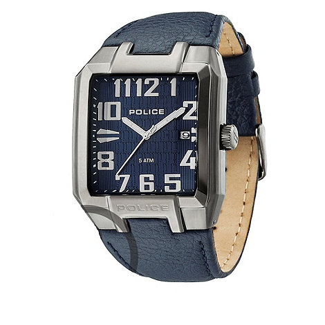 Police - Men+s blue square watch