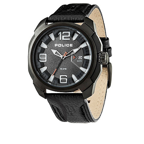 Police - Men+s black +texas+ leather strap watch