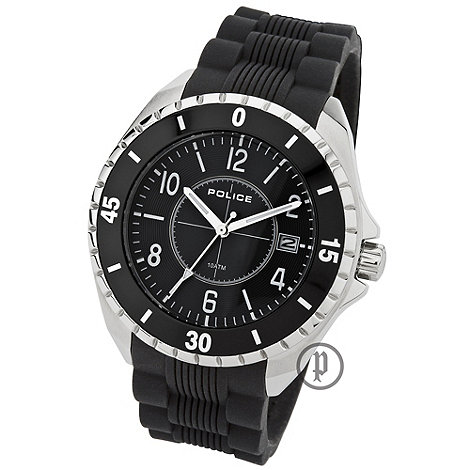 Police - Men's black 'miami' textured rubber strap watch