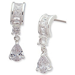 Anne Klein - Silver tone cubic zirconia tear drop earrings