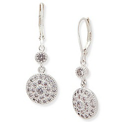Anne Klein - Silver tone cubic zirconia leverback earrings