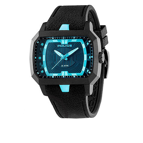 Police - Men+s black +hydra+ square blue dial watch