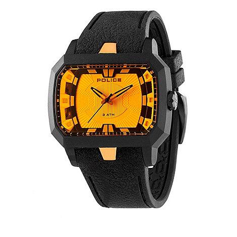 Police - Men+s black +hydra+ square orange dial watch