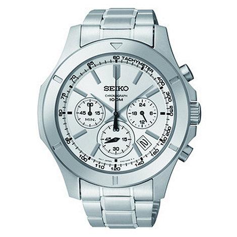 Seiko - Men+s silver chronograph dial watch