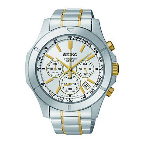 Seiko - Men+s silver two tone white chronograph dial watch