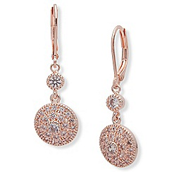 Anne Klein - Rose gold tone cubic zirconia leverback earrings