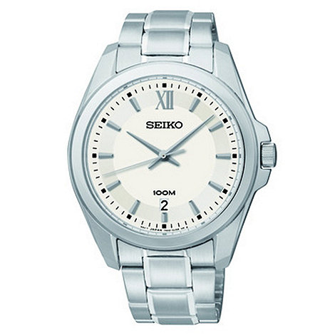 Seiko - Men+s white dial stainless steel bracelet watch