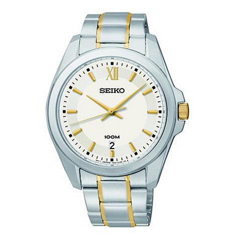 Seiko - Men+s silver multi tonal bracelet watch