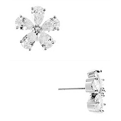 Anne Klein - Silver tone cubic zirconia flower button earrings