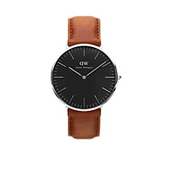 Daniel Wellington - Classic Black Durham with brown leather strap and silver case watch