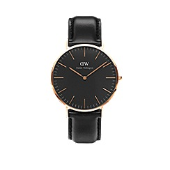 Daniel Wellington - Classic Black Sheffield with black leather strap and rose gold case watch