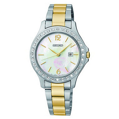 Seiko - Ladies silver two tone mother of pearl watch