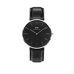 Daniel Wellington - Classic Black Sheffield with black leather strap and silver case watch