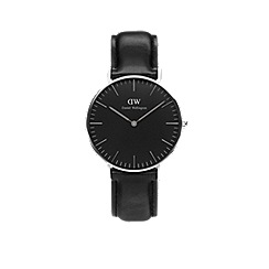 Daniel Wellington - Classic Black 36mm Sheffield with black leather strap and silver case watch