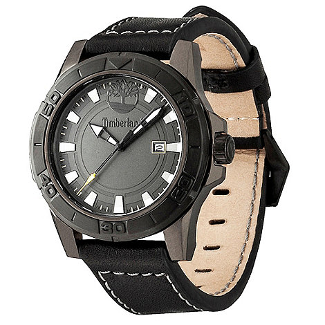 Timberland - Men+s black +rollins+ round leather watch