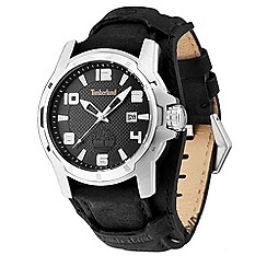Timberland - Men's black 'durham' leather strap watch
