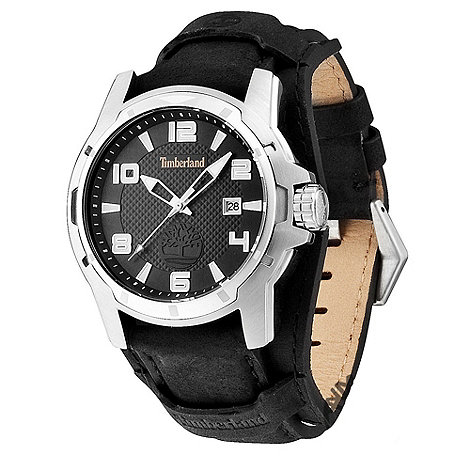 Timberland - Men+s black +durham+ leather strap watch