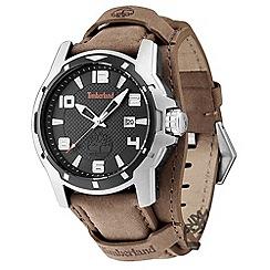 Timberland - Men's brown 'durham' leather strap watch