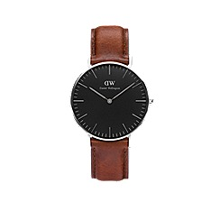 Daniel Wellington - Classic Black 36mm St Mawes with brown leather strap and silver case watch