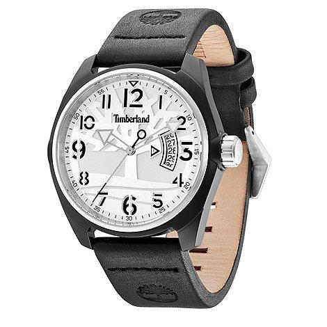 Timberland - Men+s black +sherington+ leather strap watch