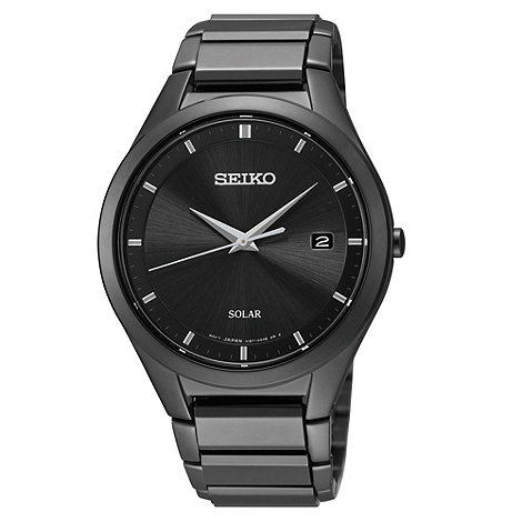 Seiko - Men+s black stainless steel solar dial watch