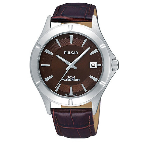 Pulsar - Men+s brown analogue dial leather mock croc strap watch