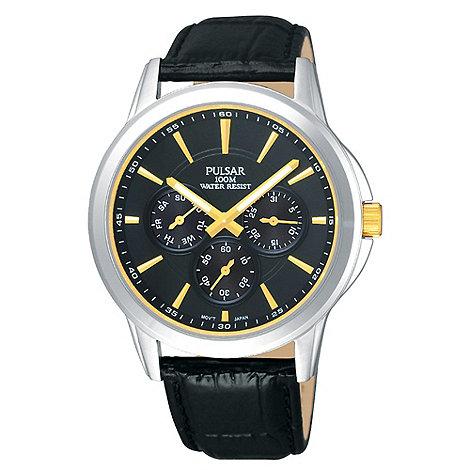 Pulsar - Men+s black chronograph dial mock croc strap watch