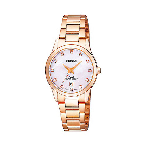 Pulsar - Ladies bronze mother of pearl diamante markings watch