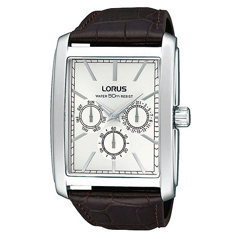Lorus - Men+s dark brown rectangular multi dial mock croc strap watch