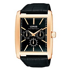 Lorus - Men's black rectangular multi dial leather strap watch