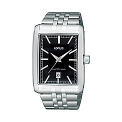 Lorus - Men's silver rectangular dial bracelet strap watch