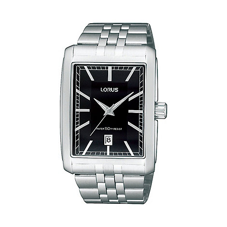 Lorus - Men+s silver rectangular dial bracelet strap watch