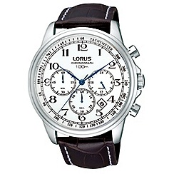 Lorus - Men's black chronograph dial leather strap watch
