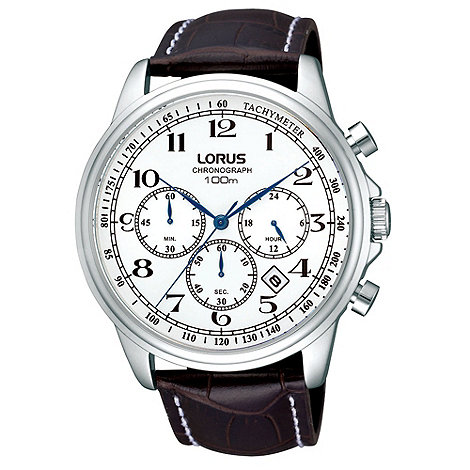 Lorus - Men+s black chronograph dial leather strap watch