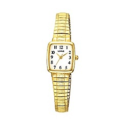 Lorus - Ladies gold square dial flared expanding strap watch rph56ax9