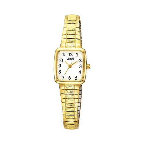 Lorus - Ladies gold square dial flared expanding strap watch