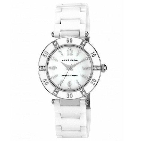 Anne Klein - Ladies white round stone dial watch