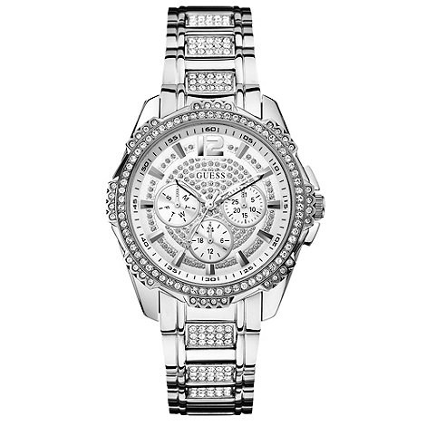 Guess - Ladies silver and crystal bracelet watch w0286l1