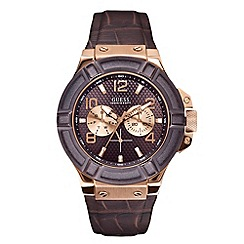 Guess - Men's brown croco effect leather strap watch