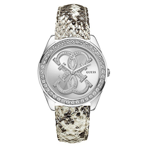 Guess - Ladies animal print leather strap watch