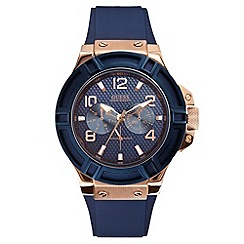 Guess - Men's blue silicone strap watch with multi-function dial