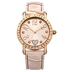 Lipsy - Ladies light pink croc strap watch with pink dial